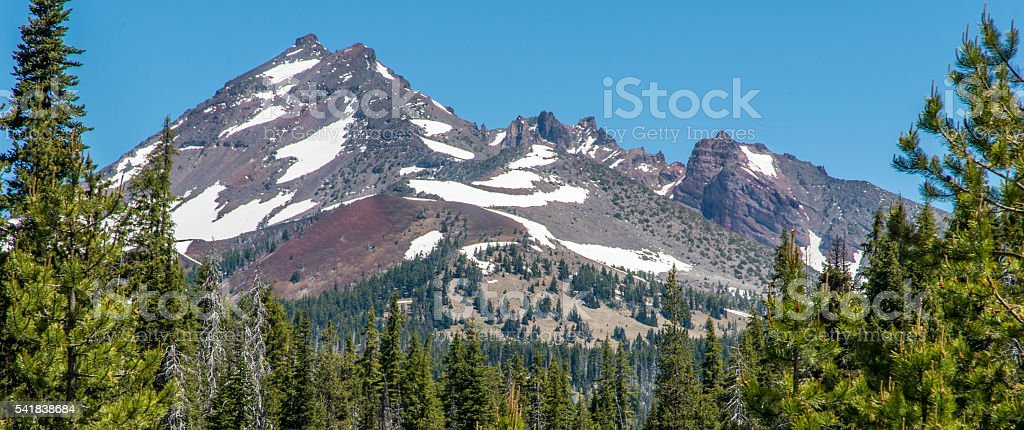 Snow-capped mountain stock photo