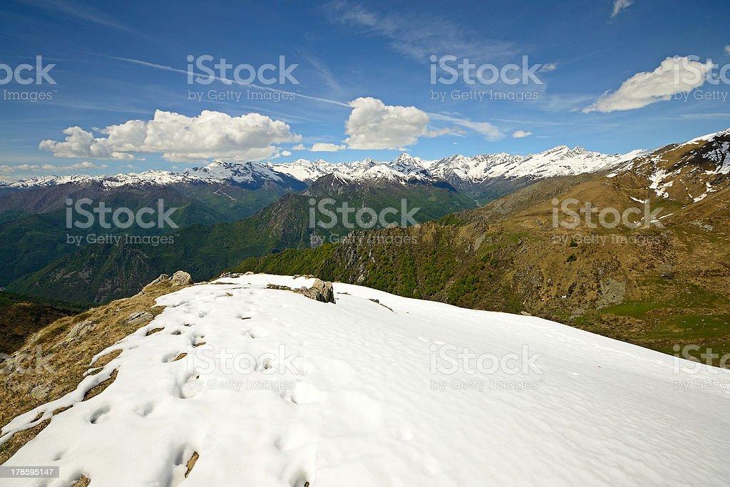 Snowcapped mountain ridge royalty-free stock photo