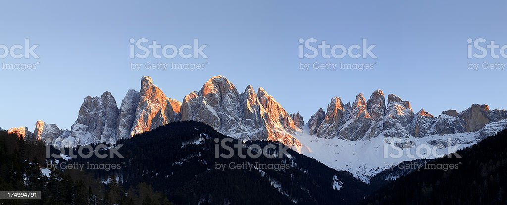 Snow-capped mountains at sunset royalty-free stock photo