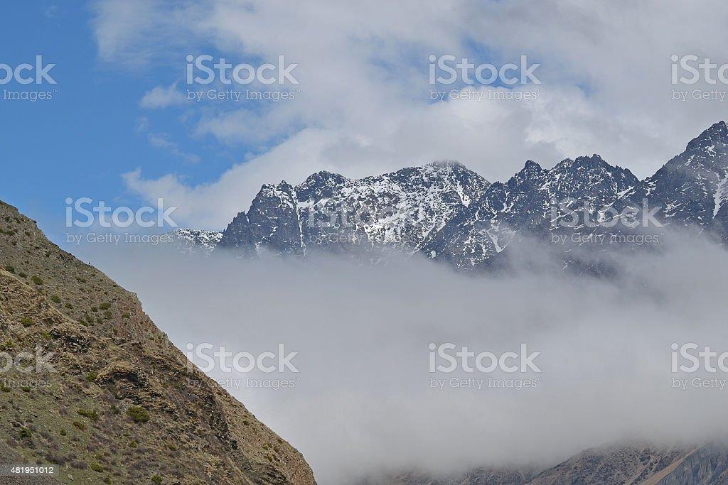 Snow-capped mountains, Georgia. stock photo