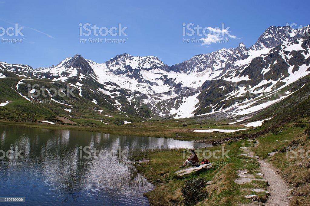 Snowcapped mountains stock photo