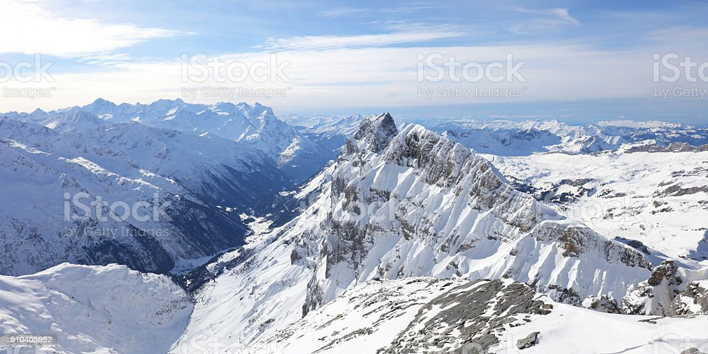 Snowcapped Mountains Winter Panorama Titlis, Engelberg Switzerland stock photo