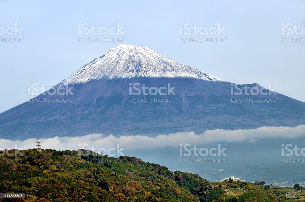 Snowcapped Mt. Fuji in late autumn stock photo