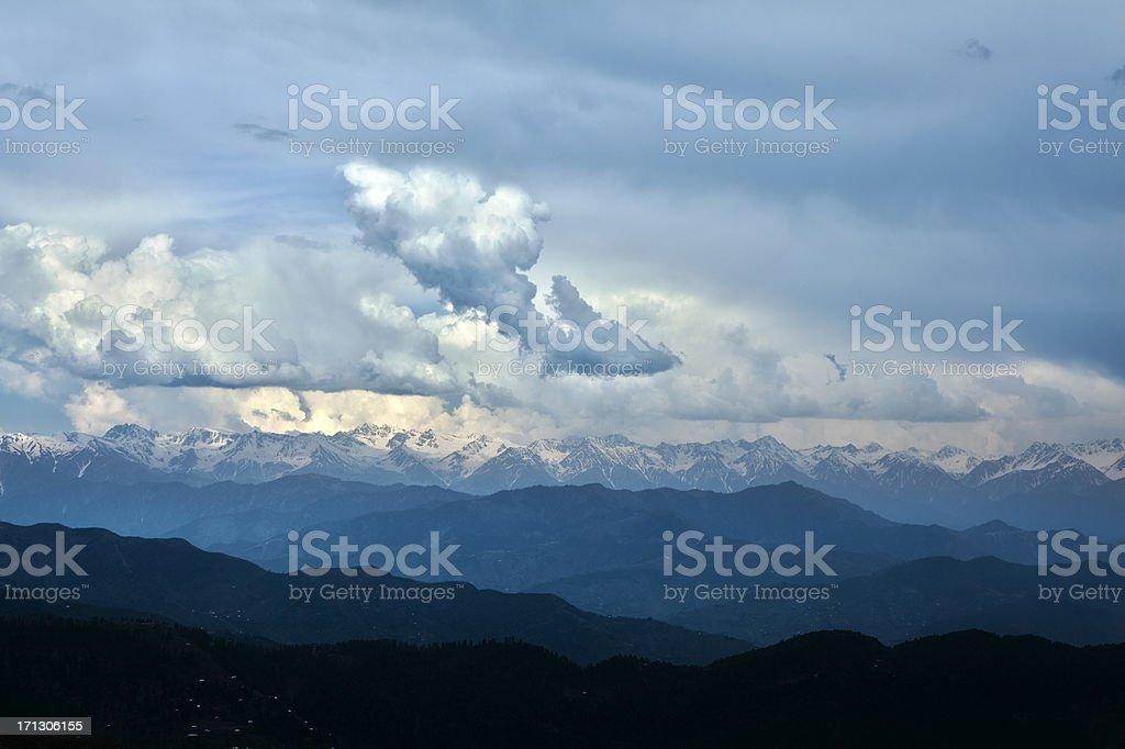 Snowcapped peaks of Siachen Glacier, Rolling Landscape, Kashmir stock photo