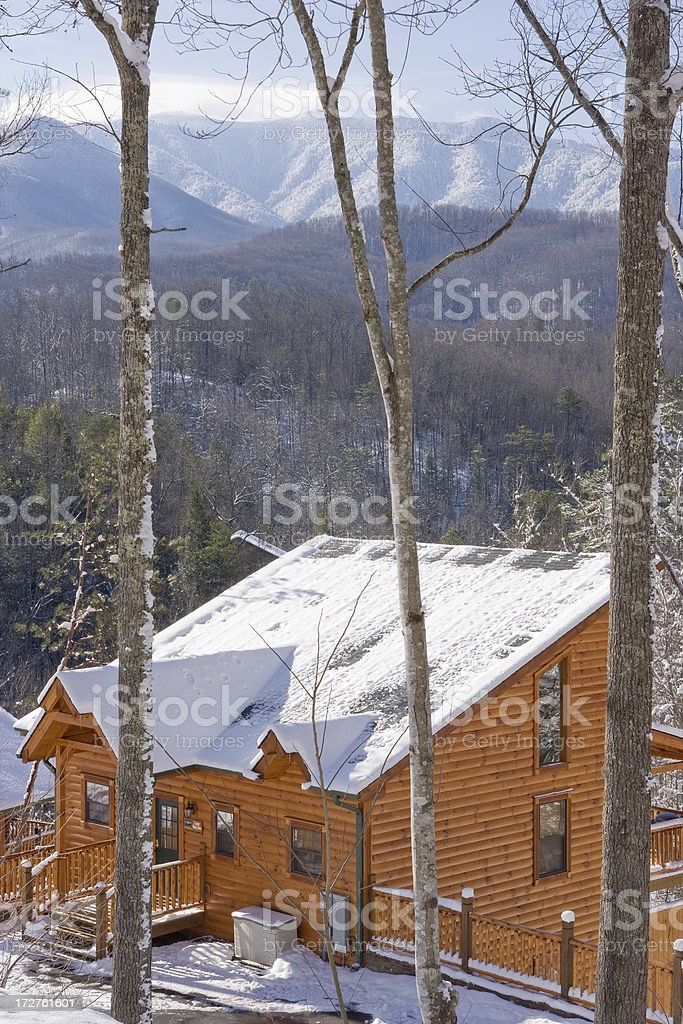 Snowcapped Smoky Mountains with Cabin royalty-free stock photo