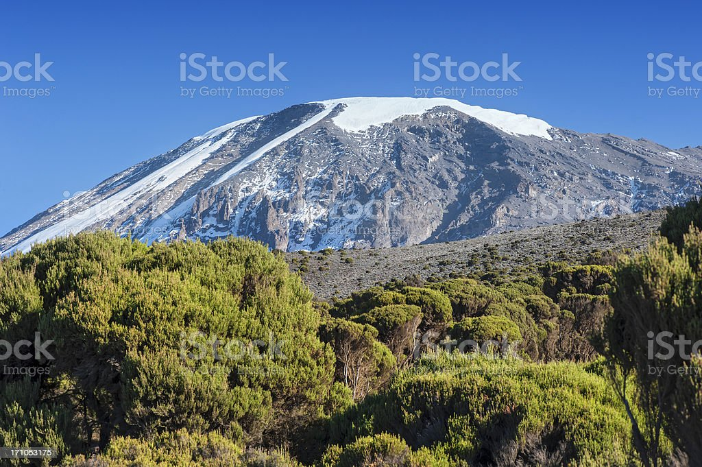 Snowcapped summit of Mount Kilimanjaro, Tanzania stock photo