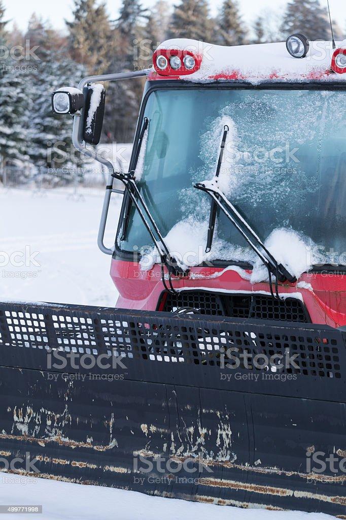 snowcat close up background stock photo