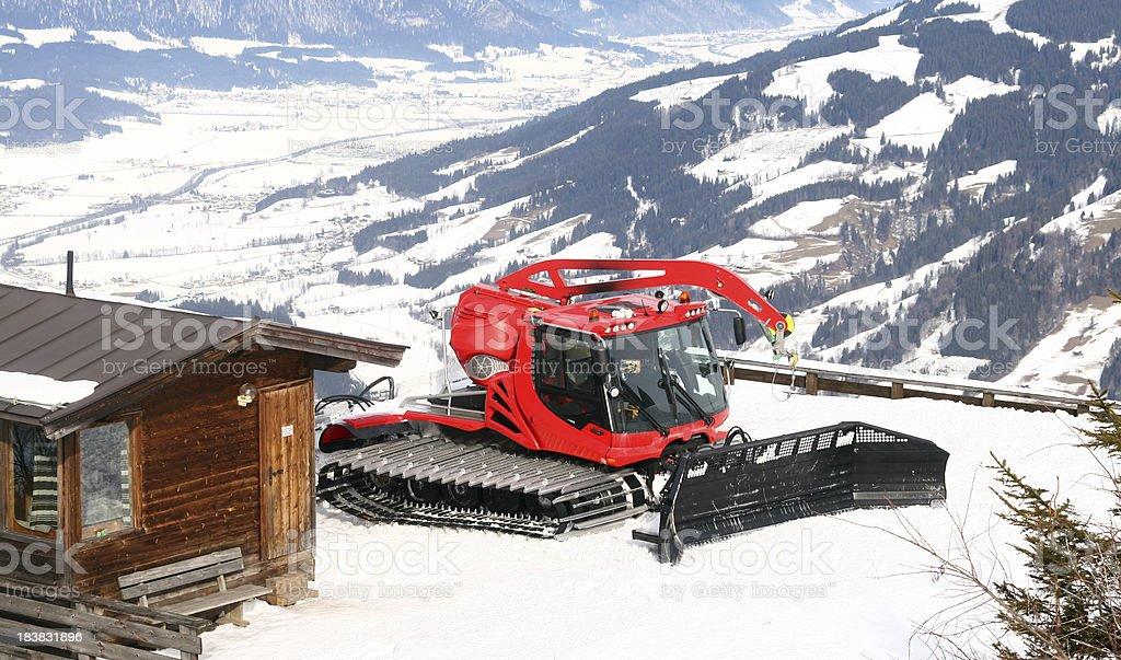Snowcat in mountains. Ретрак в горах. royalty-free stock photo