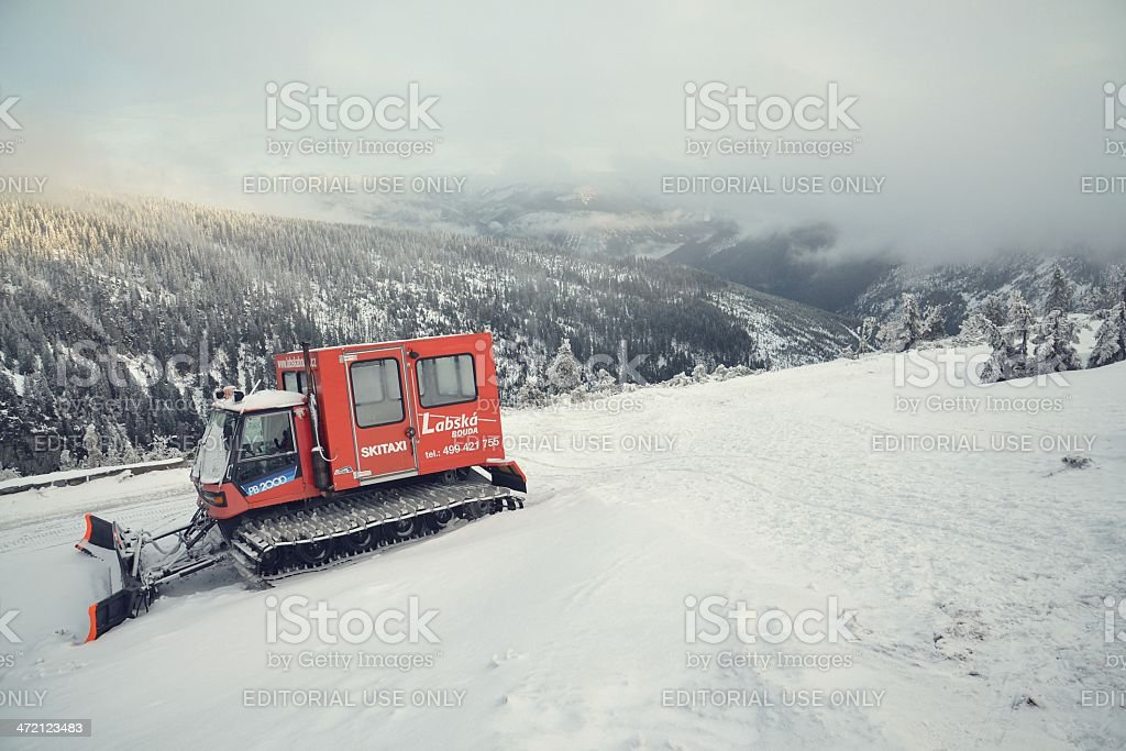 Snowcat in snowy country stock photo