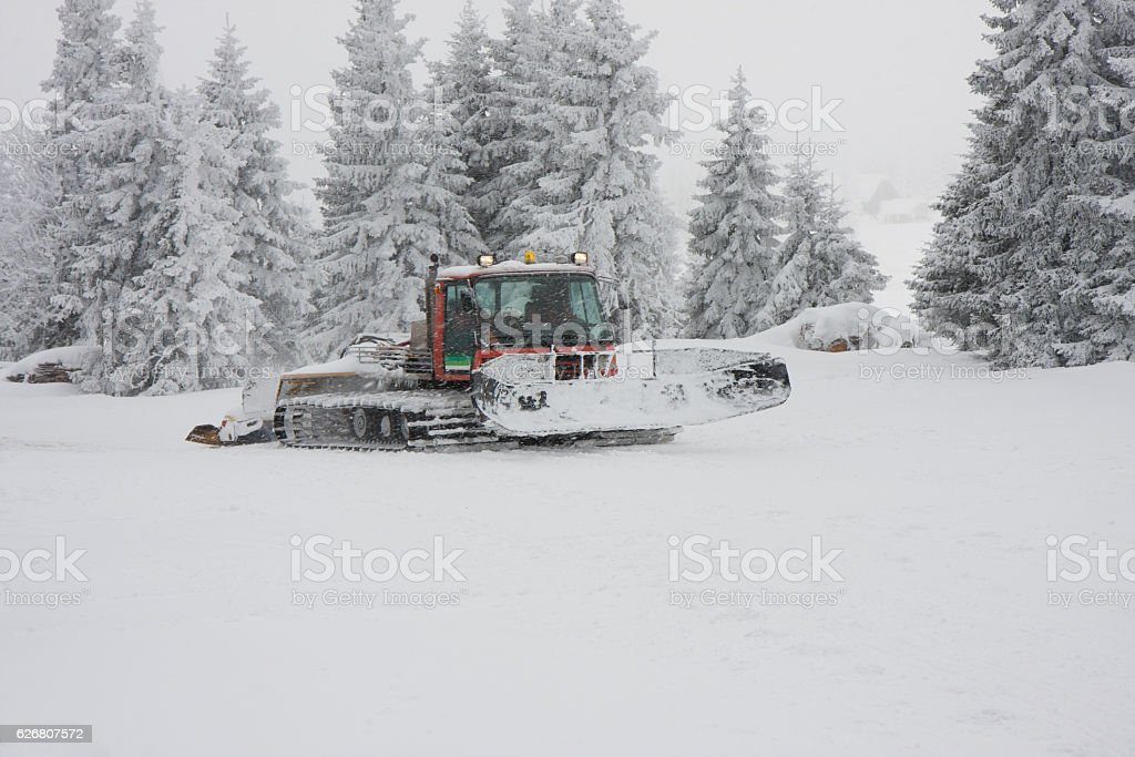 Snowcat On The Track stock photo