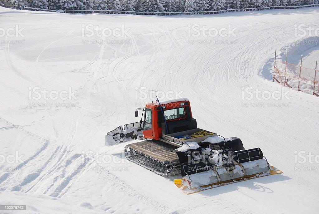 Snowcat Prepairing Runway royalty-free stock photo