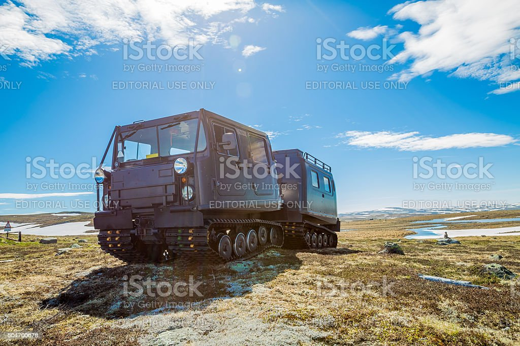 Snowcat tank stock photo