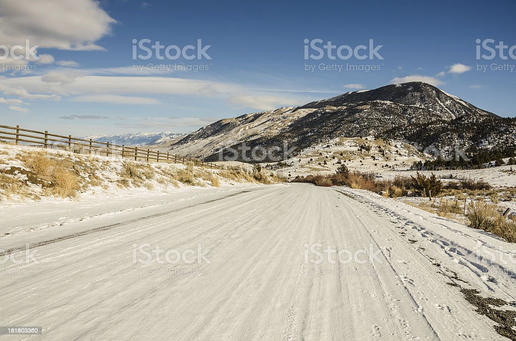 Snow-covered Backroad in Montana royalty-free stock photo