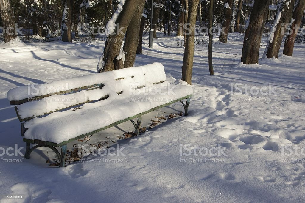 Snow-covered bench in a Sunny winter day XXXL stock photo