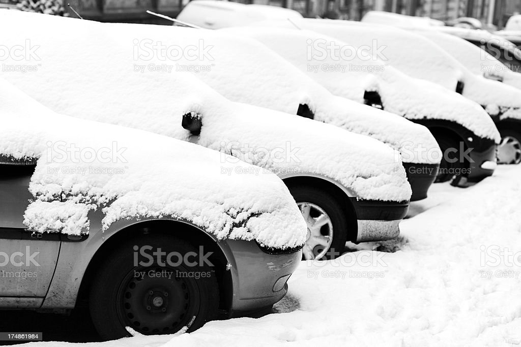 Snow-covered cars royalty-free stock photo
