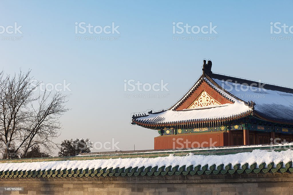 Snow-covered Chinese temple in Beijing, China stock photo