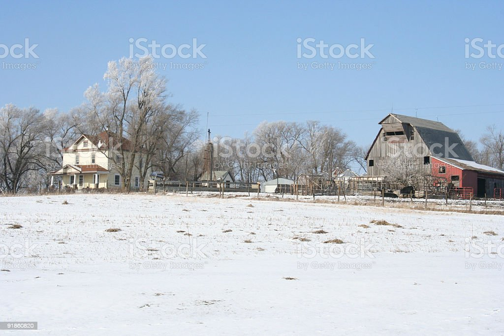 Snow-Covered Farm royalty-free stock photo
