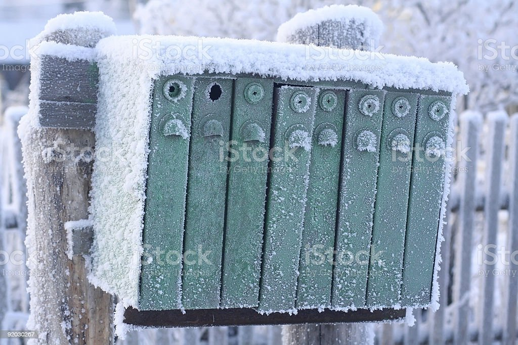 Snow-covered mail box royalty-free stock photo