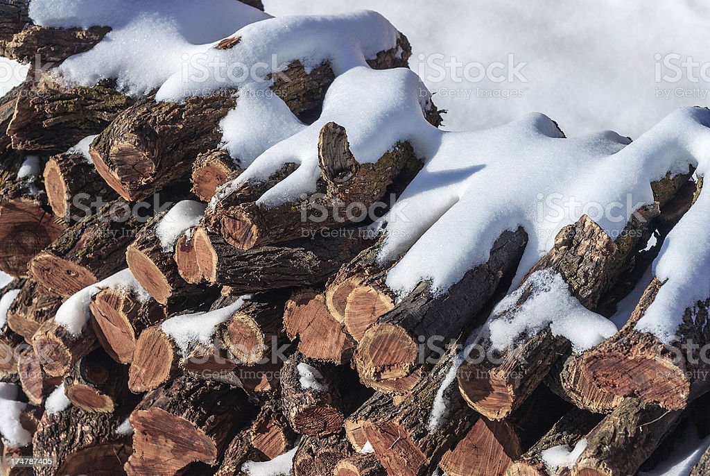 snow-covered mesquite cordwood firewood royalty-free stock photo