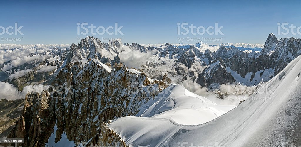 Snow-covered mountains in the Mont Blanc Mountain Range stock photo