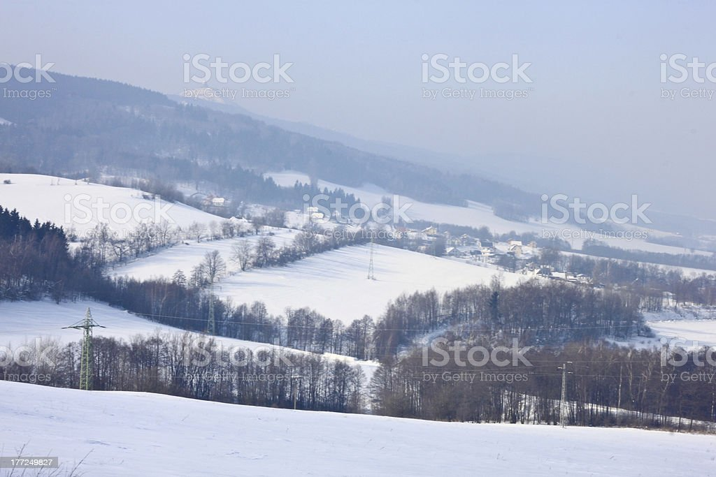 Snow-covered mountains royalty-free stock photo