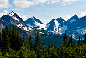 Snow-covered peaks over Tonquin Valley in Jasper