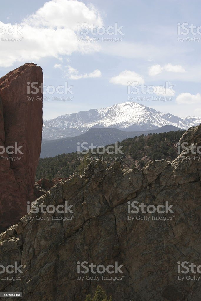Snow-covered Pikes Peak royalty-free stock photo