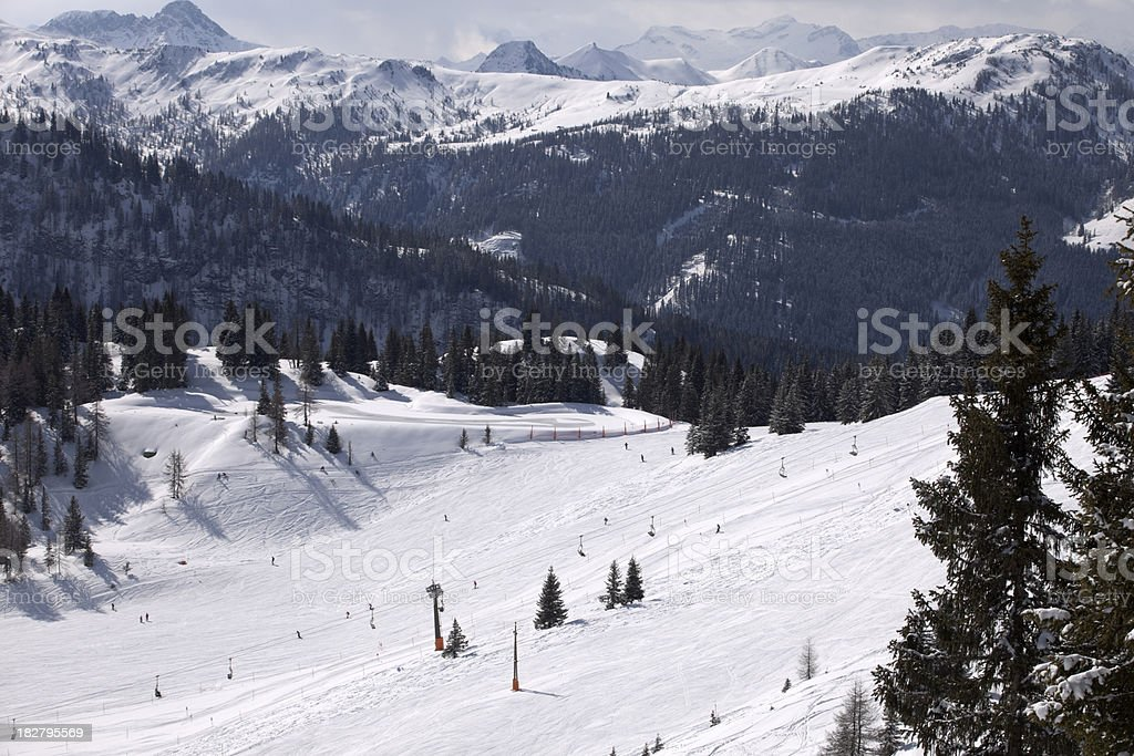 snow-covered skiing area in the Austrian Alps stock photo