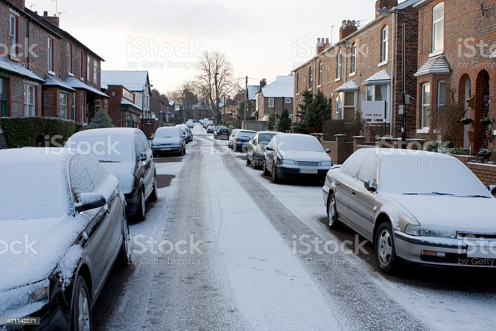 Snow-covered street stock photo