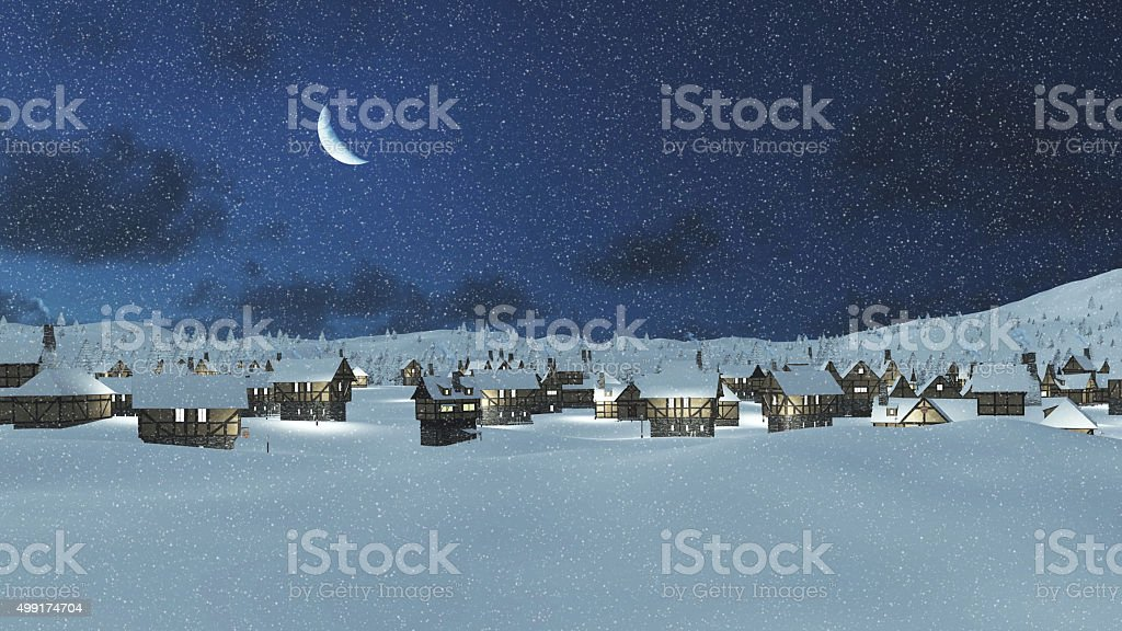 Snow-covered town at snowfall night with moon stock photo