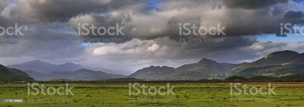 Snowdon mountain ranges panoramic view of Snowdonia national park royalty-free stock photo
