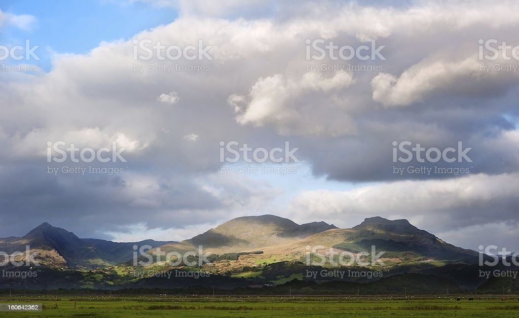 Snowdon mountain ranges panoramic view of Snowdonia royalty-free stock photo