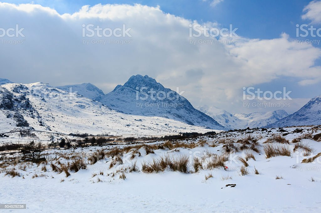 Snowdona Wales in winter snow stock photo