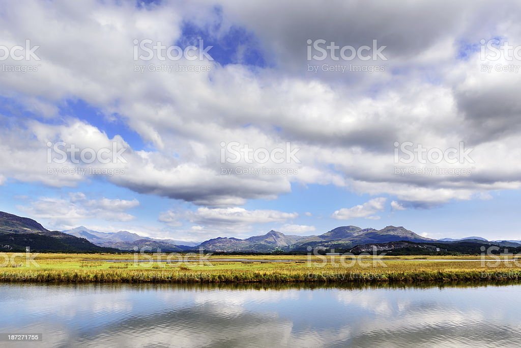 Snowdonia viewed from Porthmadog, Wales royalty-free stock photo