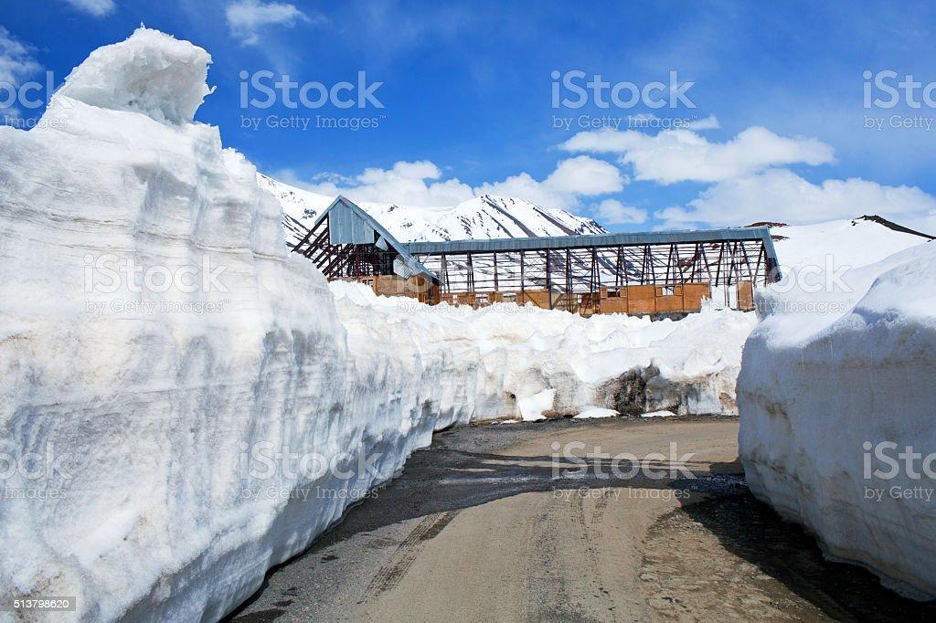 Snowdrift at the Leh - Manali Highway in Indian Himalayas stock photo