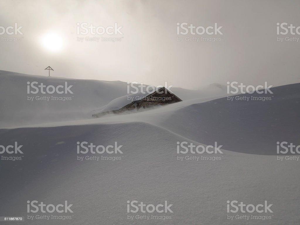 Snowdrift, Schneeverwehung stock photo