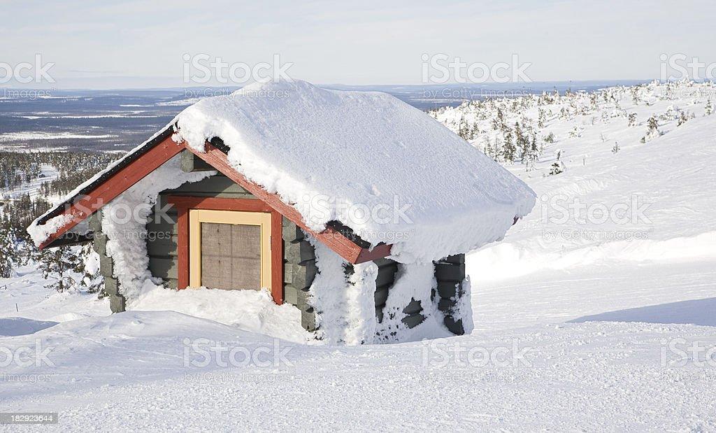 snowed hut stock photo