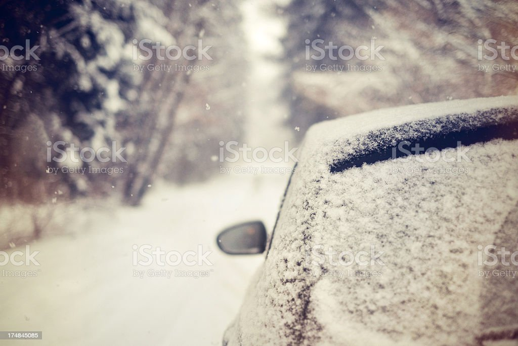Snowed in on a rural road royalty-free stock photo