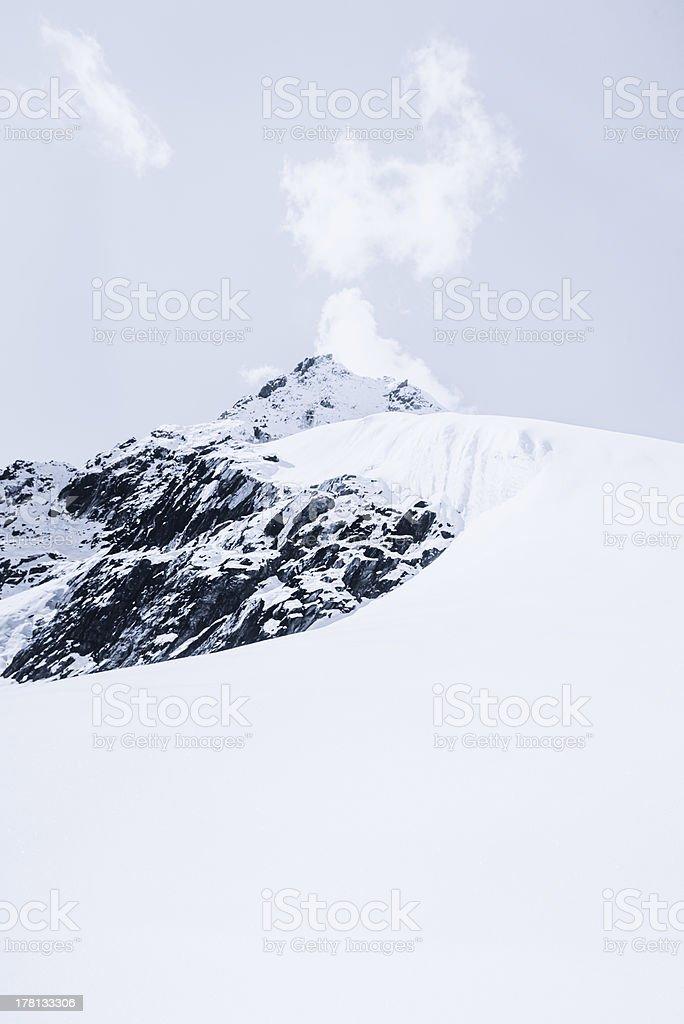 Snowed mountain summit and rocks in Himalaya royalty-free stock photo