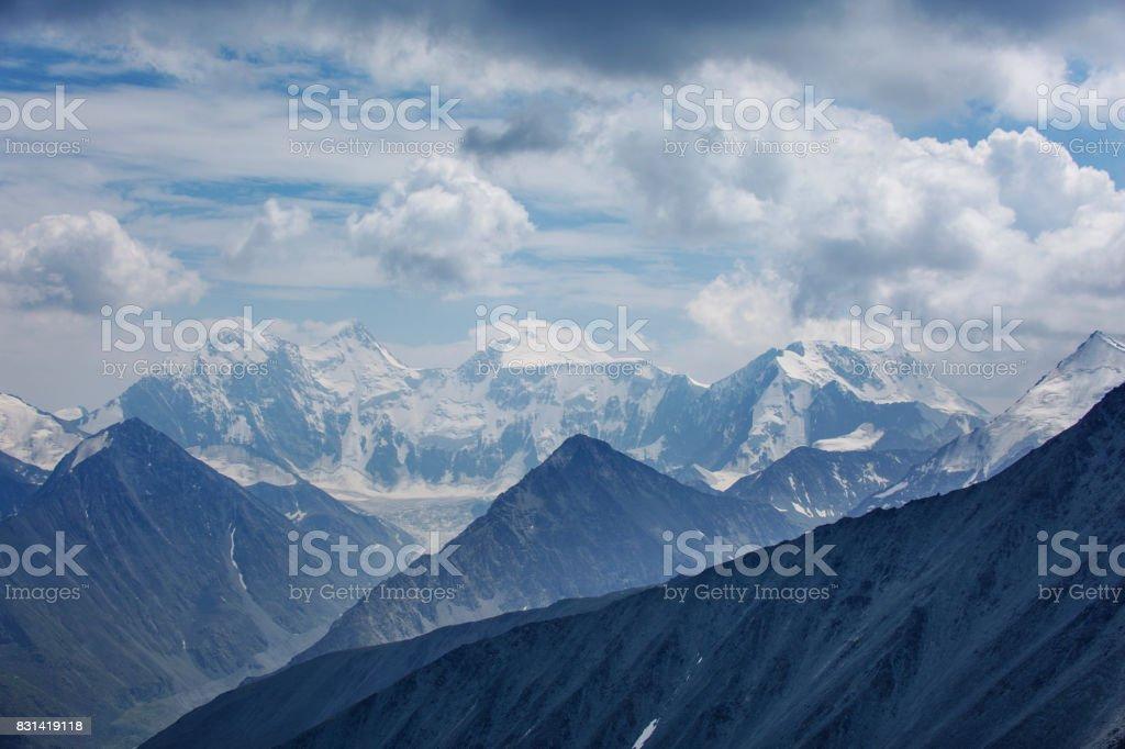 Snowed peaks of the Beluha Mountain, Altai stock photo