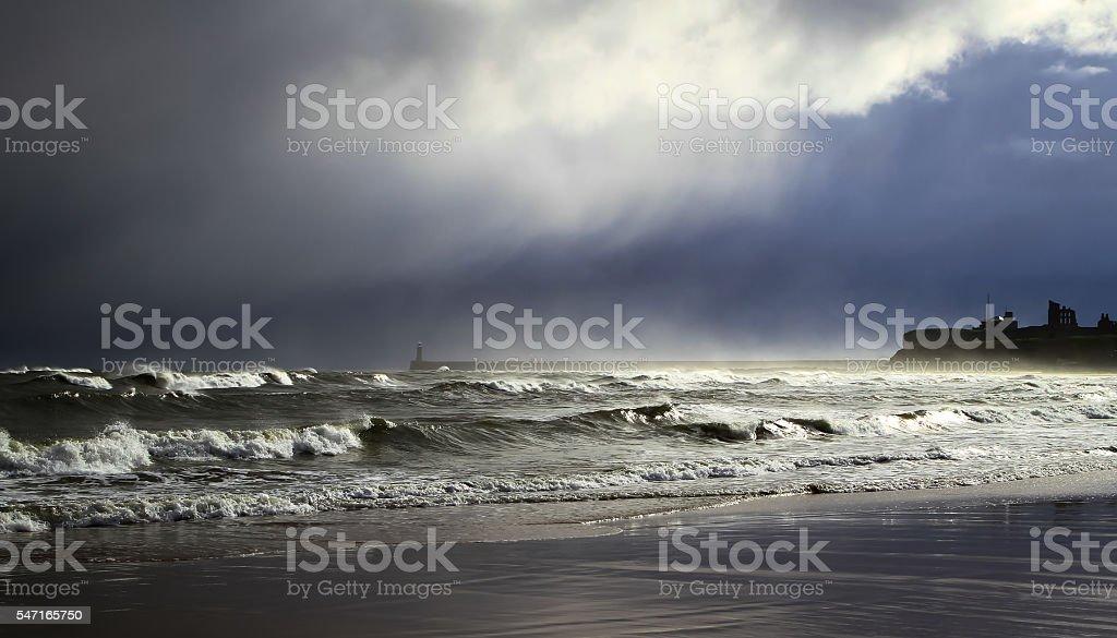 Snowfall at sea stock photo