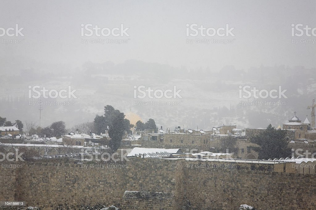 Snowfall in Jerusalem royalty-free stock photo