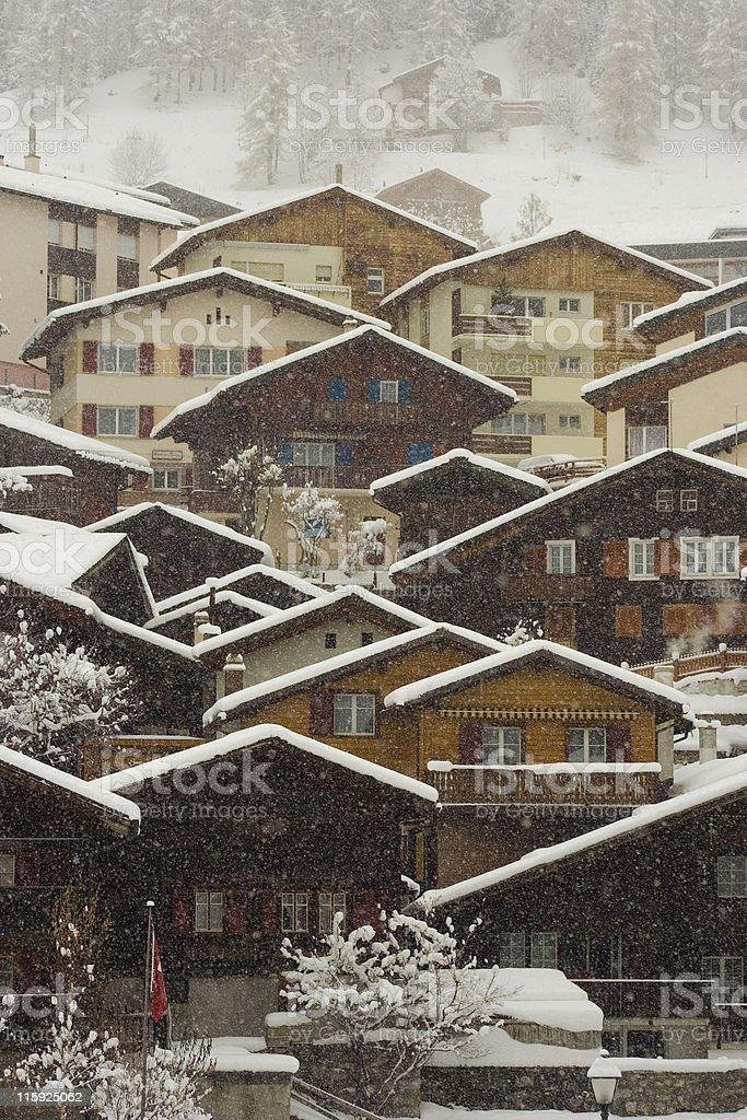 Snowfall in Leukerbad stock photo