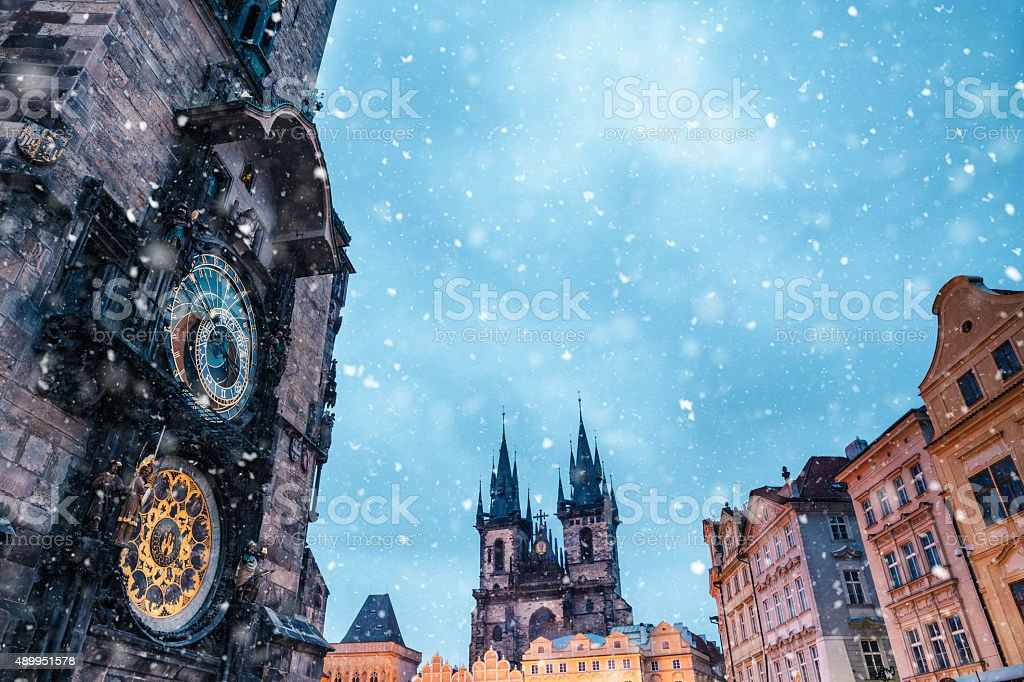 Snowfall On Old Town Square In Prague stock photo