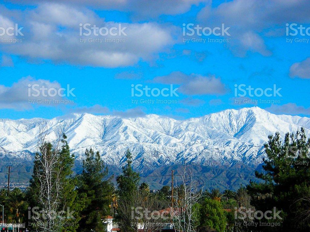 Snowfall on the San Bernardino Mountains seen from Redlands California stock photo