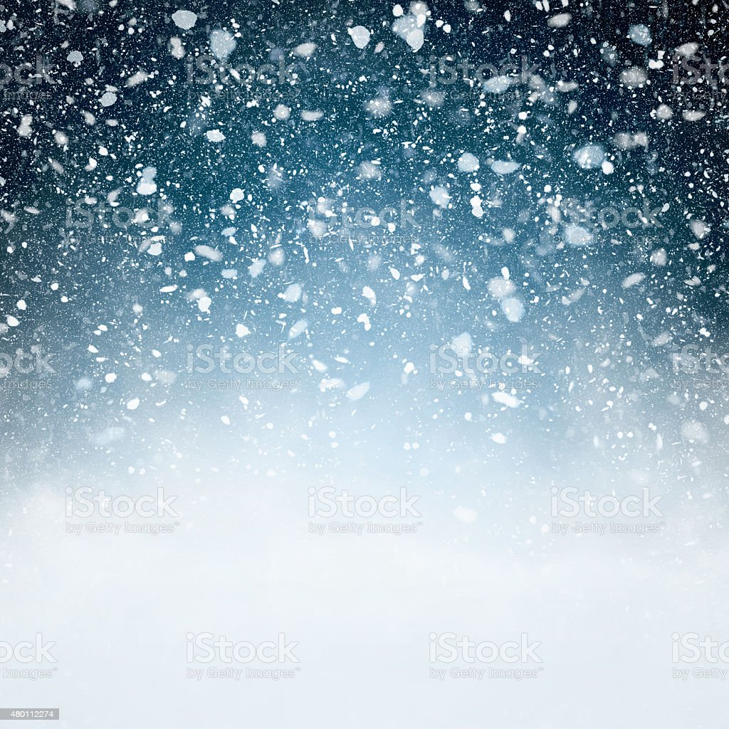 Snowfall with Blue Background stock photo