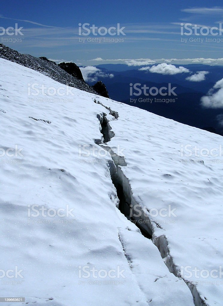 Snowfield Crevasse royalty-free stock photo