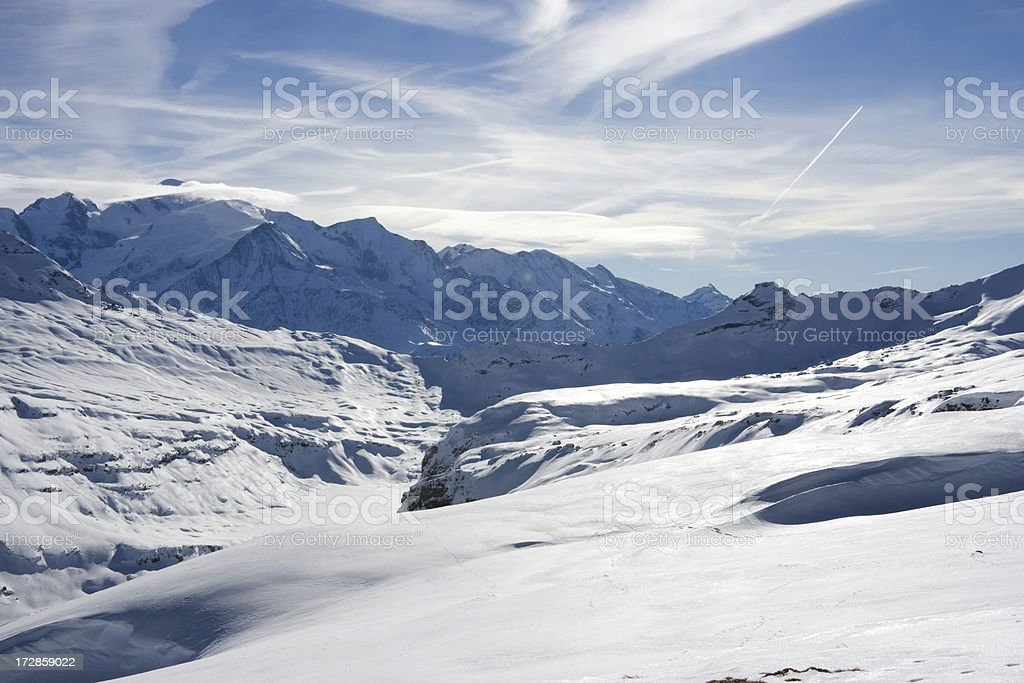 Snowfields at Flaine stock photo