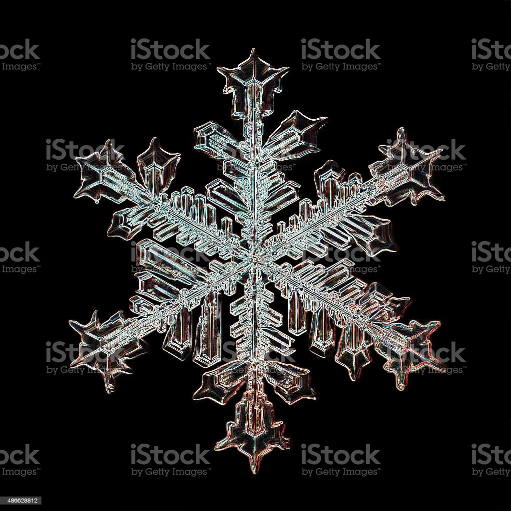 snowflake crystal black background stock photo