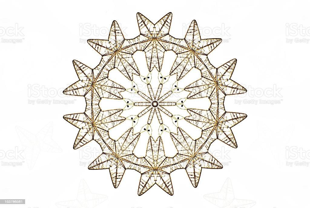 snowflake decorative golden kaleidoscope pattern royalty-free stock photo